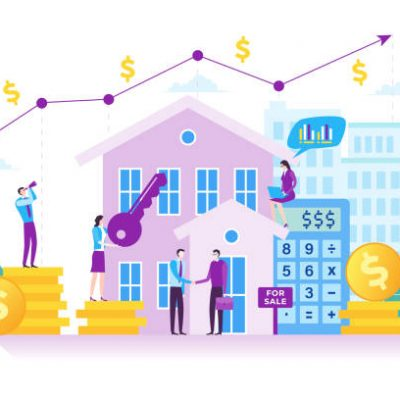 Business investment in flat design with business people illustration